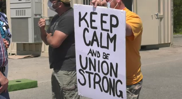 Picket sign held by USW Local 6500 mining worker at one of Vale's Sudbury operations. (CTV Northern Ontario)