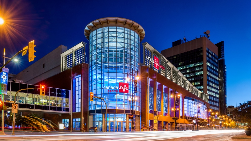 Rendered image for new signage for Canada Life Centre  (Supplied: True North Sports and Entertainment)