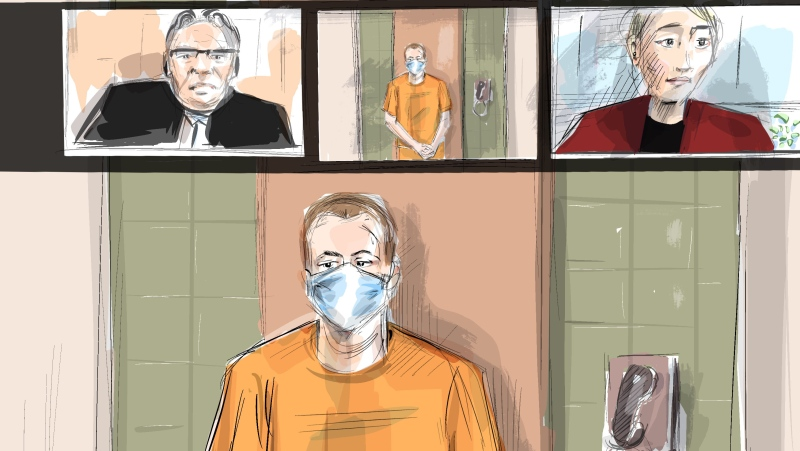 In this artist's sketch, Nathaniel Veltman makes a video court appearance in London, Ont., Thursday, June 10, 2021 as Justice of the Peace Robert Seneshen (top left) and lawyer Alayna Jay look on. (THE CANADIAN PRESS / Alexandra Newbould)