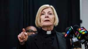 Rev. Cheri DiNovo speaks to press alongside advocates against the repeal of Ontario's updated health and physical education curriculum at a news conference held in Toronto in this file photo from July 13, 2018. THE CANADIAN PRESS/Christopher Katsarov