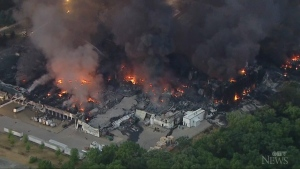 Aerial footage of Ill. chemical plant fire