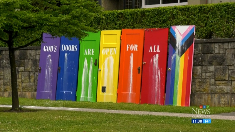 A Metro Vancouver church's Pride display was vandalized.