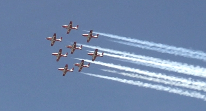 The Canadian Forces Snowbirds Air Demonstration Squadron fly over London, Ont. on Tuesday, June 15, 2021. (Sean Irvine / CTV News)