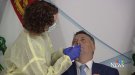 Prince Edward Island Premier Dennis King receives the nasal swab test that will be given to travellers onto the Island, during the province's June 15, 2021 COVID-19 update.