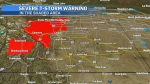 Severe thunderstorm warnings in Alberta as of Tuesday morning.