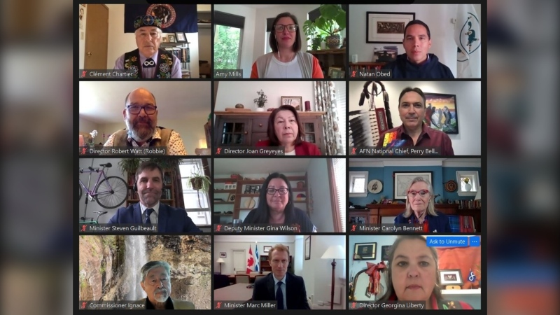 Georginia Liberty, Joan Greyeyes, Robert Watt and Ronald E. Ignace are the newly appointed members of the Office of the Commissioner of Indigenous Languages, seen in this Zoom conversation with other Indigenous leaders as well as federal ministers Carolyn Bennett and Steven Guilbeault. (Canadian Heritage/Twitter)