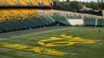 The Edmonton Elks logo is displayed at Commonwealth Stadium in Edmonton on June 1, 2021. THE CANADIAN PRESS/Jason Franson
