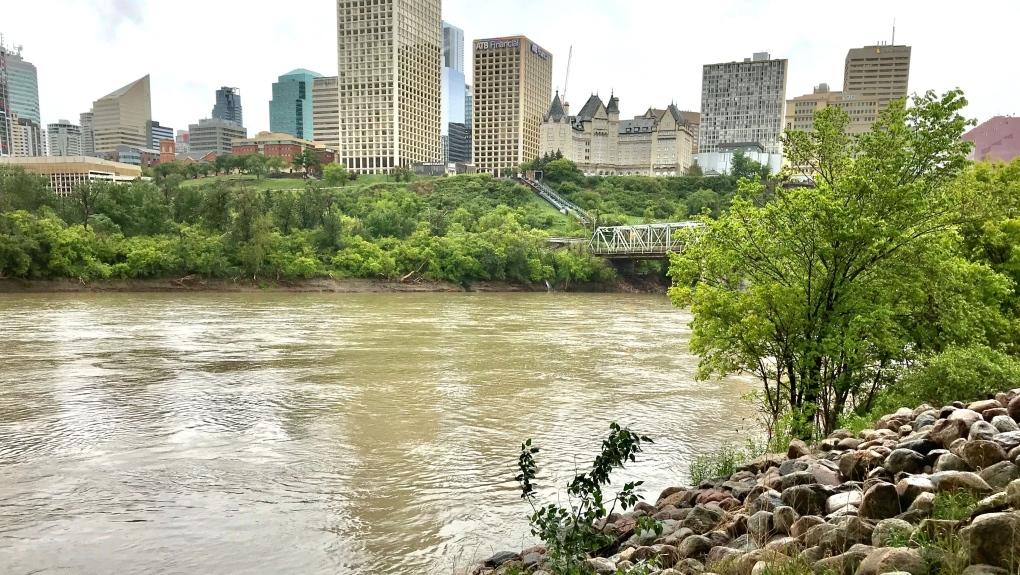 High water on the North Saskatchewan River