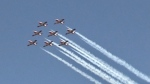 Raw: Snowbirds fly over London to honour family