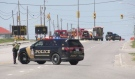 A collision near the Timmins Square mall has eastbound traffic blocked along Riverside Drive, the city's main artery. (Sergio Arangio/CTV News)