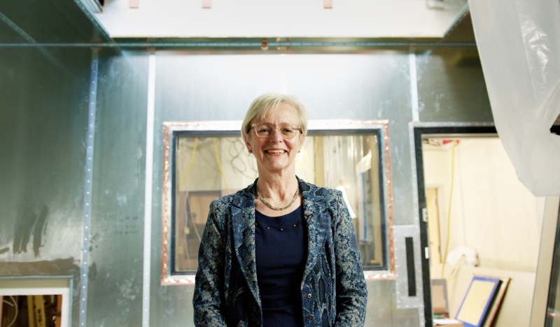 Dr. Heidi Schmidt, chief and medical director of medical imaging and radiologist at HSN, is seen at the future site of the new MRI at Health Sciences North. (Supplied)