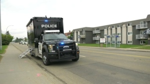 Edmonton police are investigating after an 87-year-old man was struck by a vehicle in the area of 97 Avenue and 156 Street on Tuesday, June 15, 2021. (Jay Rosove/CTV News Edmonton)