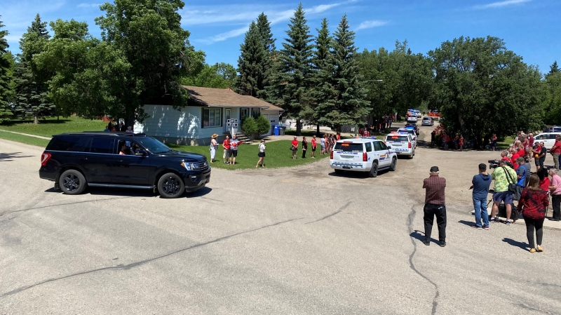 The casket of RCMP Const. Shelby Patton was transported through Wolseley, Sask. on Tuesday morning. (Gareth Dillistone / CTV News)