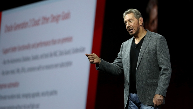 Larry Ellison delivers a keynote address during the Oracle OpenWorld on October 22, 2018 in San Francisco. Oracle's plan to buy the US assets of Chinese-owned TikTok in a partnership with Walmart is dead now that Donald Trump is out of the White House. (Justin Sullivan/Getty Images North America/Getty Images via CNN)