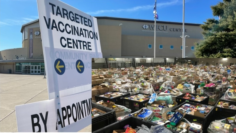 WFCU Centre vaccine clinic sign on March 14, 2021 and Miracle Food drive on June 29, 2020. (CTV Windsor)