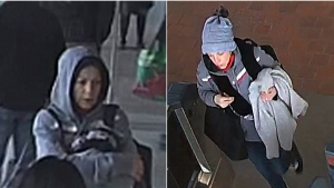 A suspect in a robbery in Burnaby, B.C., is shown in surveillance camera photos released by the RCMP.