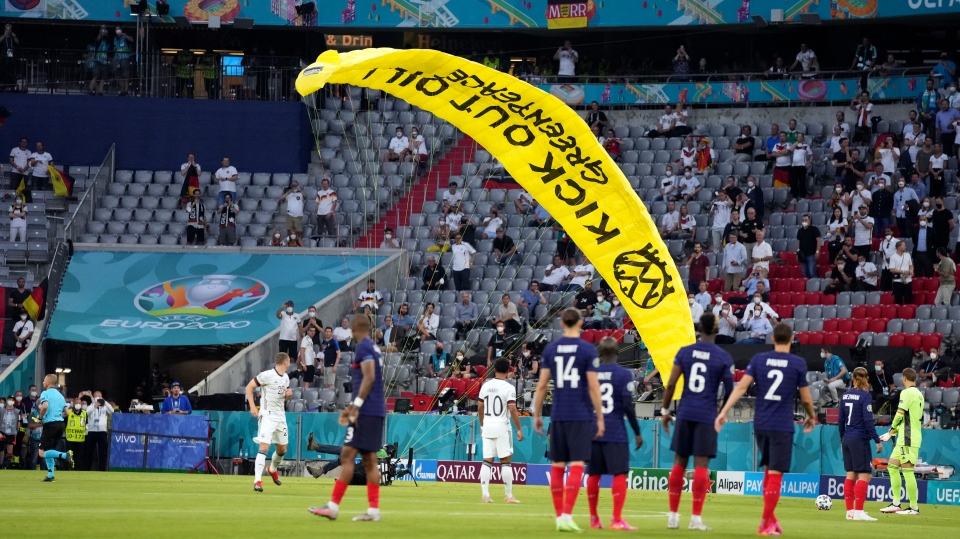 Greenpeace protest at Euro 2020 game