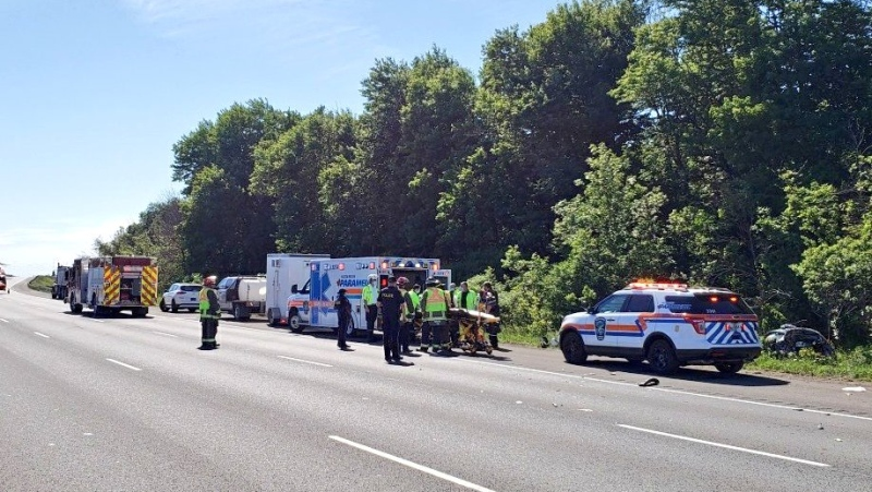 OPP say one person was airlifted to hospital following a collision on Highway 401 near Guelph Line on Tuesday, June 15, 2021. (Source: OPP)