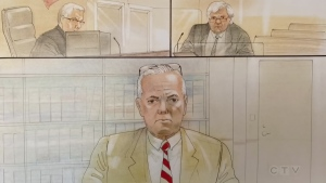 A court sketch of Richard Ruh as he testified in a Parry Sound courthouse on Tues. June 15, 2021. (Courthouse artist sketch)