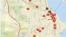 A map showing the locations of suspicious fires that were lit over the past three months is shown: (Nanaimo RCMP)