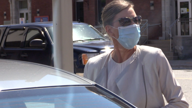 Linda O'Leary leaves a Parry Sound courthouse on Tues. June 15, 2021 (Mike Arsalides/CTV News)