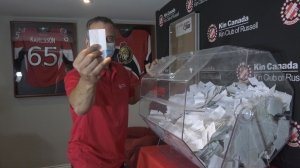 The jackpot for the Catch the Ace Lottery in Russell, Ont. has grown to $400,000. Seven cards remain and the ace is still hidden. (Leah Larocque / CTV News Ottawa)