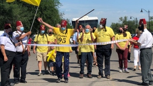 Frank Atchison arrives in Regina after starting a walk for charity in Saskatoon two months ago. (Mackenzie Read/CTV News)