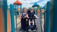 Grade 5 student Ella Cutting came up with an idea to make the playground at her Okotoks school more inclusive so her friend Cooper Oakes could play more easily