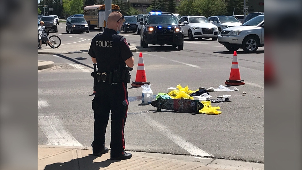 skateboard, pedestrian, hit, vehicle