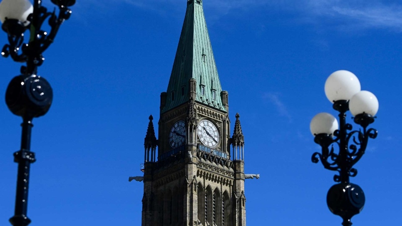 The Canada flag on the Peace Tower on Parliament Hillflies in Ottawa on Monday, April 12, 2021. THE CANADIAN PRESS/Sean Kilpatrick
