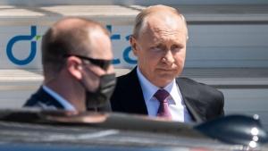 Russian President Vladimir Putin, centre, after his arrival in Geneva, Switzerland, on June 16, 2021. (Alessandro della Valle / Keystone via AP, Pool)