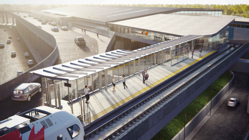An artist's rendering of the future Trillium Line LRT station at the Ottawa Airport. (Image via the City of Ottawa)
