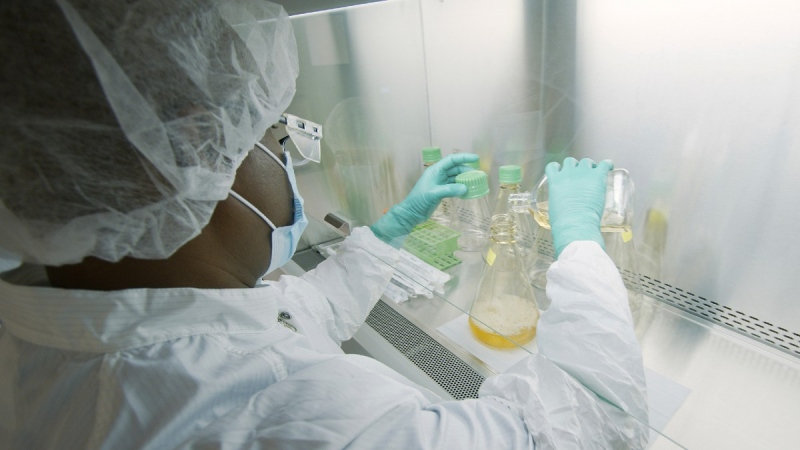 A researcher tests possible COVID-19 antibodies in an Eli Lilly laboratory in Indianapolis, in May 2020. (David Morrison / Eli Lilly via AP)