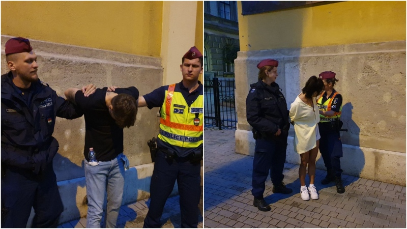 Oliver Karafa (left) and Yun (Lucy) Lu Li are seen here following their arrest on first-degree and attempted murder charges in Budapest on Saturday, June 12. (Hungarian National Police)