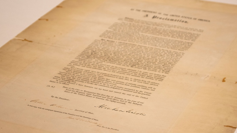 This updated handout photo provided by the Abraham Lincoln Presidential Library and Museum on Tuesday, June 8, 2021 shows a signed copy of Emancipation Proclamation. (Abraham Lincoln Presidential Library and Museum photo via AP)