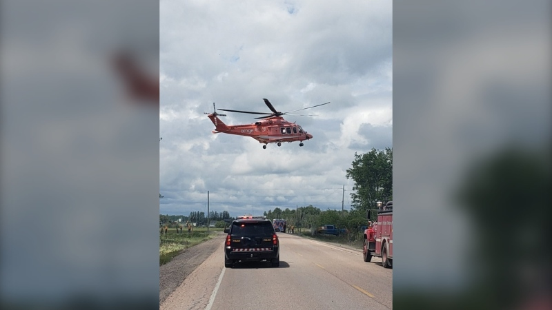 A driver had to been airlifted to hospital using Ontario's emergency Ornge helicopter this week, Temiskaming Ontario Provincial Police said, after a crash on Highway 65 West near Henwood Road 2, in the Township of Henwood. (File)