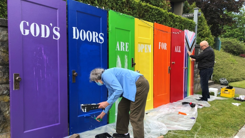 An installation at Vancouver's Shaughnessy Heights United Church is repainted on Wednesday, June 16, 2021. (Steve Hughes / CTV News Vancouver)