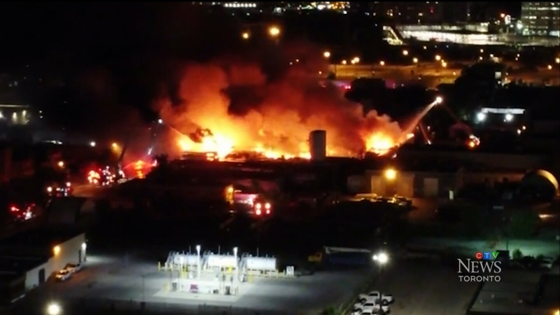 A five-alarm fire at an Etobicoke bakery caused severe damages on Tuesday night.
