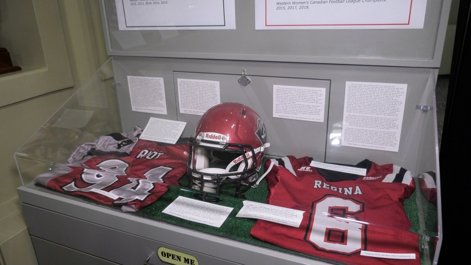 Jerseys, trophies and championship rings from the Regina Riot and Saskatoon Valkyries are on display in the exhibit. (Marc Smith/CTV News)