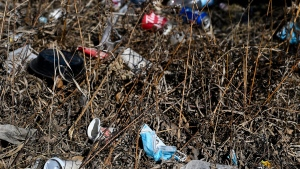 Used masks lay in the ditch along with other littered garbage during the COVID-19 pandemic in Brampton, Ont., on Monday, March 15, 2021. (THE CANADIAN PRESS / Nathan Denette)