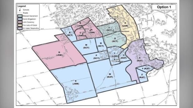WCDSB boundary change map.