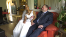 Chandra and Tyson Dahl were surprised by NICU staff who, on the day of the couple's wedding, dressed their preemie twins up as a ring bearer and flower girl.