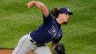 Tampa Bay Rays' Tyler Glasnow delivers a pitch during the first inning of the team's baseball game against the New York Yankees on Tuesday, June 1, 2021, in New York. (AP Photo/Frank Franklin II)