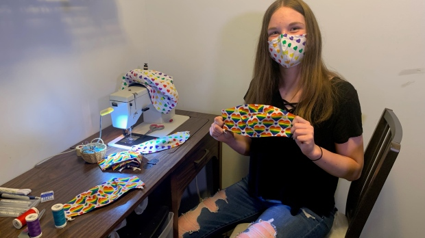 Grace Hubbs, 14, is showing her support for the LGBTQ+ community by sewing and selling Pride masks.