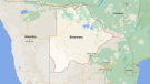 A map of Botswana is seen in this image. (Google Maps)