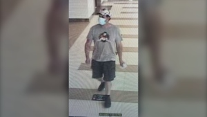 Eric Wildman, a suspect in the homicide of Clifford Joseph, is pictured on a surveillance camera at the Winnipeg James Armstrong Richardson International Airport on June 11, 2021. (Image source: Manitoba RCMP)