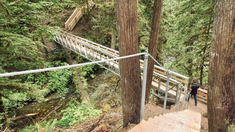 The first phase of upgrades to Benson Creek Falls Regional Park intended to improve safety and accessibility is now complete, and the affected section of trail has reopened for use. (CTV)