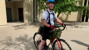 Andre Nahachewsky has been training since October for his 2,000 km journey. (Carla Shynkaruk/CTV Saskatoon)