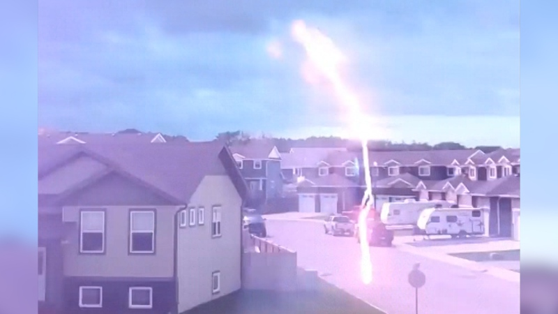 The lightning strike right in front of Carly Horner's Sylvan Lake home Tuesday. (Source: Carly Horner)