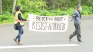 Demonstrators at Tuesday's protest hoped the Prince Rupert Port Authority would turn the Volans ship around in response to Israel's actions and policies towards Palestinians.